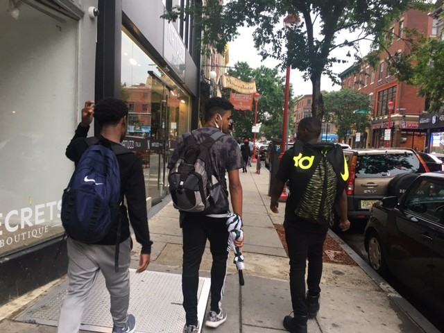 In this picture a few of our male models were walking to South Street along with me so we can go thrift shopping. The clothing that was used in the 70's and 90's scenes were clothes that I went out and bought from thrift stores in the area.